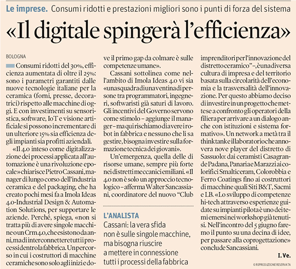 Il digitale spingerà l'efficenza